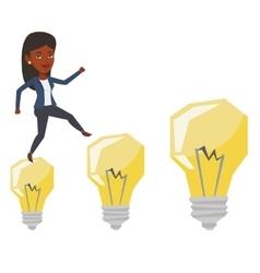 Business woman jumping on idea bulbs vector