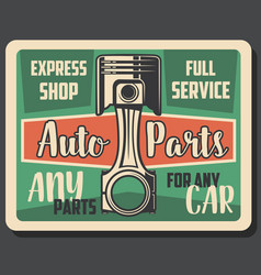 Car auto parts express service shop retro poster vector
