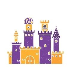 Cartoon castle isolated purple vector image