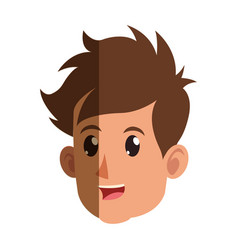 character face head boy smiling vector image