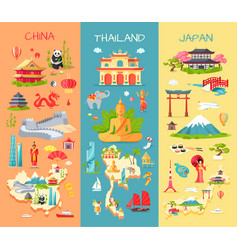 China thailand japan icons of asian countries vector