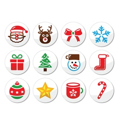 Christmas santa icons set vector image