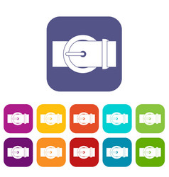 Circle belt buckle icons set flat vector