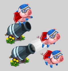 circus performance gun shoots a pig cartoon style vector image