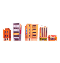 city buildings with apartments office and store vector image