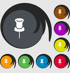 Clip Icon sign Symbols on eight colored buttons vector image