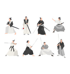 collection of samurai isolated on white background vector image