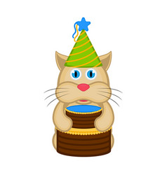 cute cat with a party hat and a cake vector image