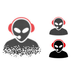 Disappearing dot halftone alien call center icon vector