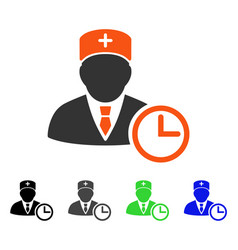 Doctor clock flat icon vector