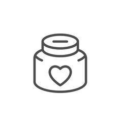 Donation jar line icon vector