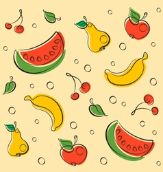 Drawn Outline Fruit Pattern vector image