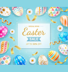 easter day banners template eggs and ribbon vector image
