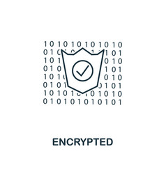 encrypted outline icon monochrome style design vector image