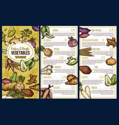 Exotic vegetables sketch price list vector