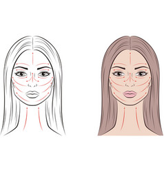 female face with massage lines and long hair vector image