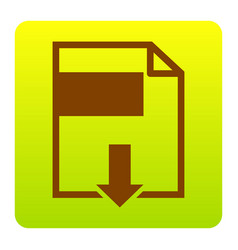 file download sign brown icon at green vector image