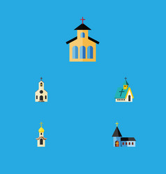 Flat icon church set of structure building vector