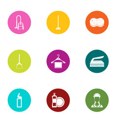floor cleaning icons set flat style vector image