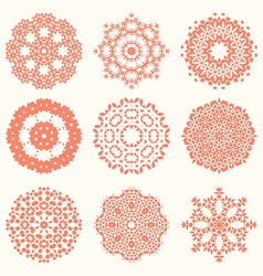 Floral circle elements vector