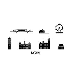 France lyon flat travel skyline set france lyon vector