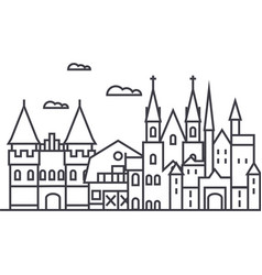 Germany castles line icon sign vector