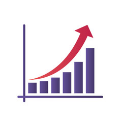 graph with arrow isolated icon vector image