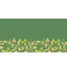 Green And Gold Leaves Horizontal Seamless Pattern vector image