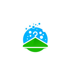 green laundry logo icon design vector image