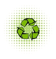 Green recycle symbol comics icon vector
