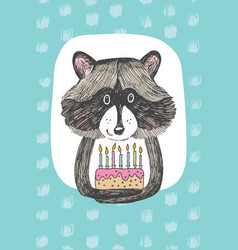 Greeting card design with cute raccoon keeps a vector