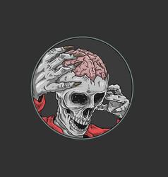 halloween skull brain vector image