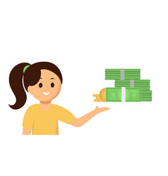 happy girl pointing at money flat vector image