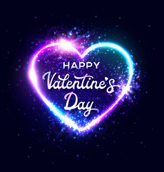 happy valentines day neon script lettering vector image