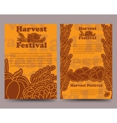 Harvest festival brochure template with vegetables vector