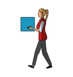 Isolated woman cartoon woth box design vector