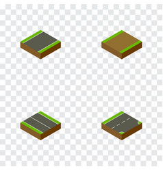 Isometric way set of flat unilateral footpath vector