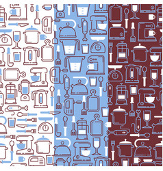 kitchen supplies icons in seamless pattern vector image