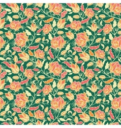 Magical flowers and leaves seamless pattern vector image