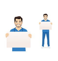 male nurse character wit board vector image