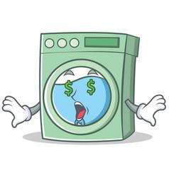 Money eye washing machine character cartoon vector