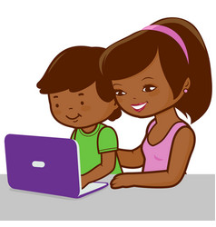 Mother and son on computer vector