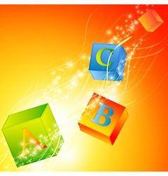 multicolored abc cubes vector image