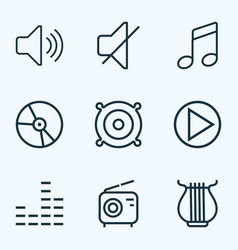 Multimedia outlines set collection of audio level vector