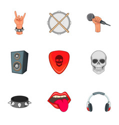 music festival icons set cartoon style vector image