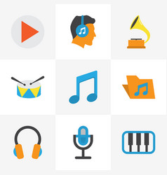 Music flat icons set collection of pianoforte vector