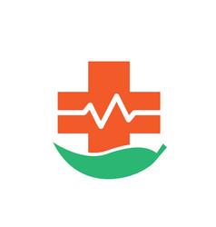 natural cross health medicine logo designs vector image