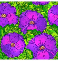 Ornate violet flowers seamless pattern vector image