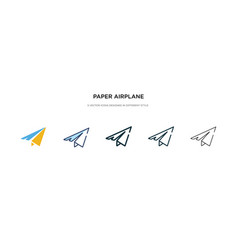 Paper airplane icon in different style two vector