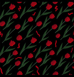 pattern with red tulips on black background vector image